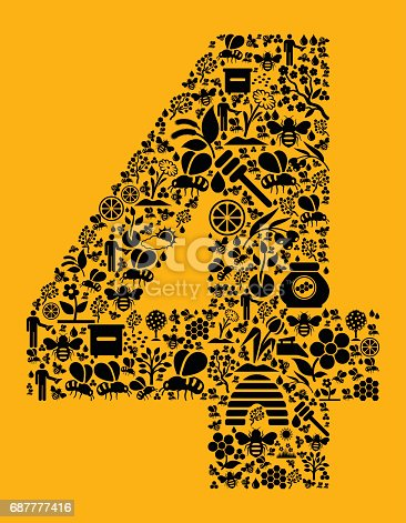 istock Number 4 Bee and Honey Vector Icons Background 687777416