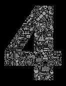 Number 4 Future and Futuristic Technology Vector Icon Black Background. This color vector background composition features the main image surrounded by various technology, innovation and futuristic iconography. The icons vary in size and are black in color and form a seamless pattern around the main object. This artwork is ideal for future and futuristic lifestyle concepts.