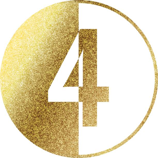 Number 4 in gold vector art illustration