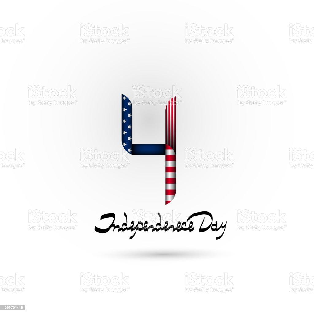 Nummer 4 in de stijl van de Amerikaanse vlag. Juli 4-Amerikaanse onafhankelijkheidsdag. Belettering-Onafhankelijkheidsdag. Achtergrond, logo, pictogram. - Royalty-free Achtergrond - Thema vectorkunst