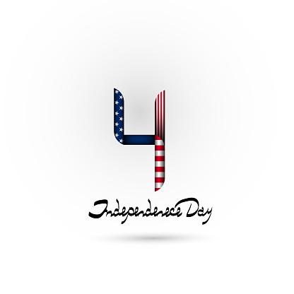 Nummer 4 In De Stijl Van De Amerikaanse Vlag Juli 4amerikaanse Onafhankelijkheidsdag Beletteringonafhankelijkheidsdag Achtergrond Logo Pictogram Stockvectorkunst en meer beelden van Achtergrond - Thema