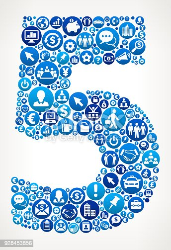 istock Number 5 Business and Finance Vector Icon Pattern 928453856