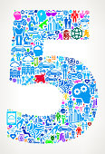 Number 5 Future and Futuristic Technology Vector Icon Background. This color vector background composition features the main image surrounded by various technology, innovation and futuristic iconography. The icons vary in size and color and form a seamless pattern around the main object. This artwork is ideal for future and futuristic lifestyle concepts.