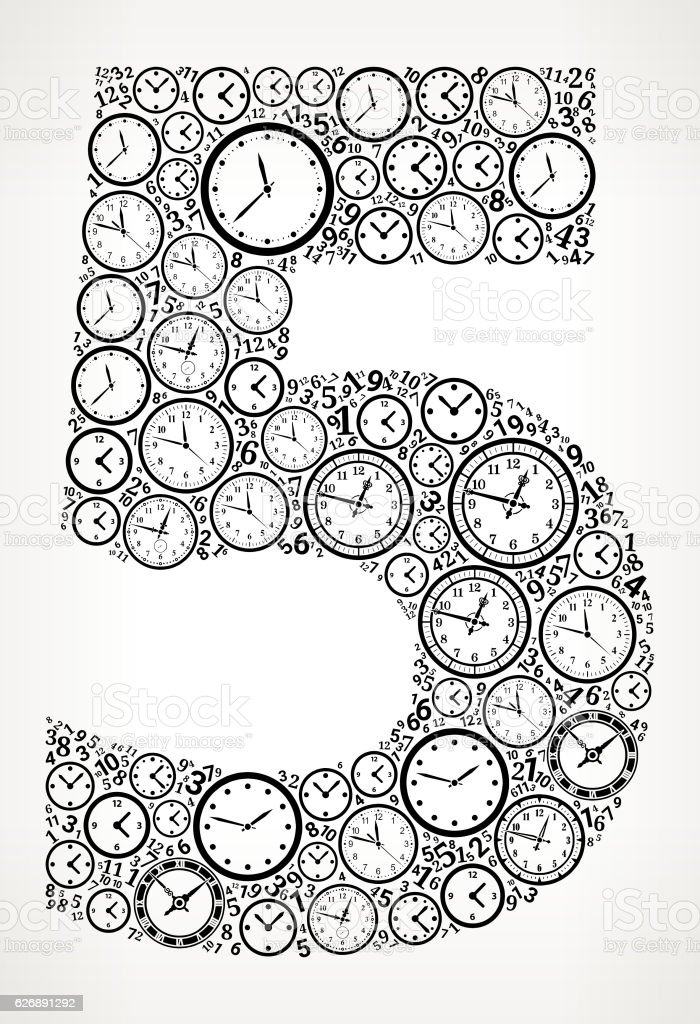 Number 5 On Time And Clock Vector Icon Pattern Vektor Illustration ...