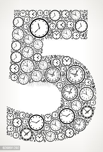 istock Number 5 on Time and Clock Vector Icon Pattern 626891292