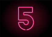 Number 5 Red Neon Light On Black Wall