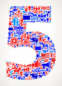 Number 5 Vote and Elections USA Patriotic Icon Pattern. This 100% vector composition features red and blue vote and elections icon pattern. The icons vary in size and include such election iconography as voting, candidates, leadership, voting ballots, republican and democratic symbols and people participating in the voting process.