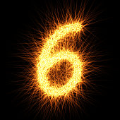 Number 6 composed from lights particles, isolated on black. Vector design.