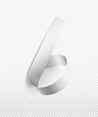 NUMBER 6 - 3D realistic design element. White paper strip hand formed and twisted in round shape of 6.   Simple and luxury composition isolated on light background. Amazing light and soft shadows perfectly reflect the three-dimensional shape.  Zoom to see the details. Artwork in vector - enlarge it without losing the quality!