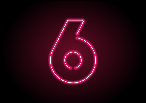 Number 6 Red Neon Light On Black Wall