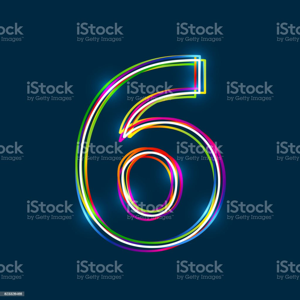 Number 6 - Vector multicolored outline font with glowing effect isolated on blue background. royalty-free number 6 vector multicolored outline font with glowing effect isolated on blue background stock illustration - download image now