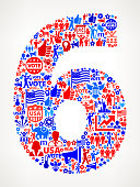 Number 6 Vote and Elections USA Patriotic Icon Pattern. This 100% vector composition features red and blue vote and elections icon pattern. The icons vary in size and include such election iconography as voting, candidates, leadership, voting ballots, republican and democratic symbols and people participating in the voting process.