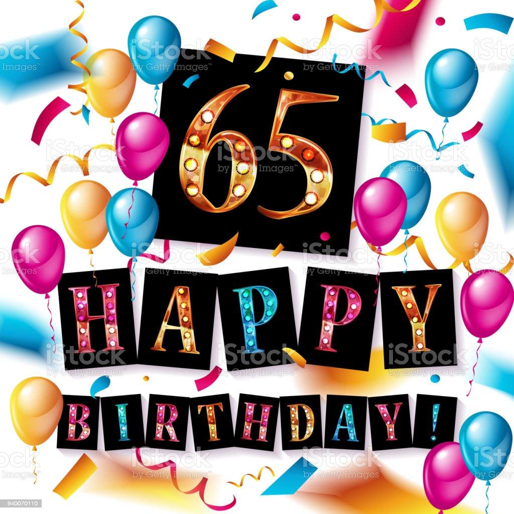 Number 65 gold celebration vector art illustration