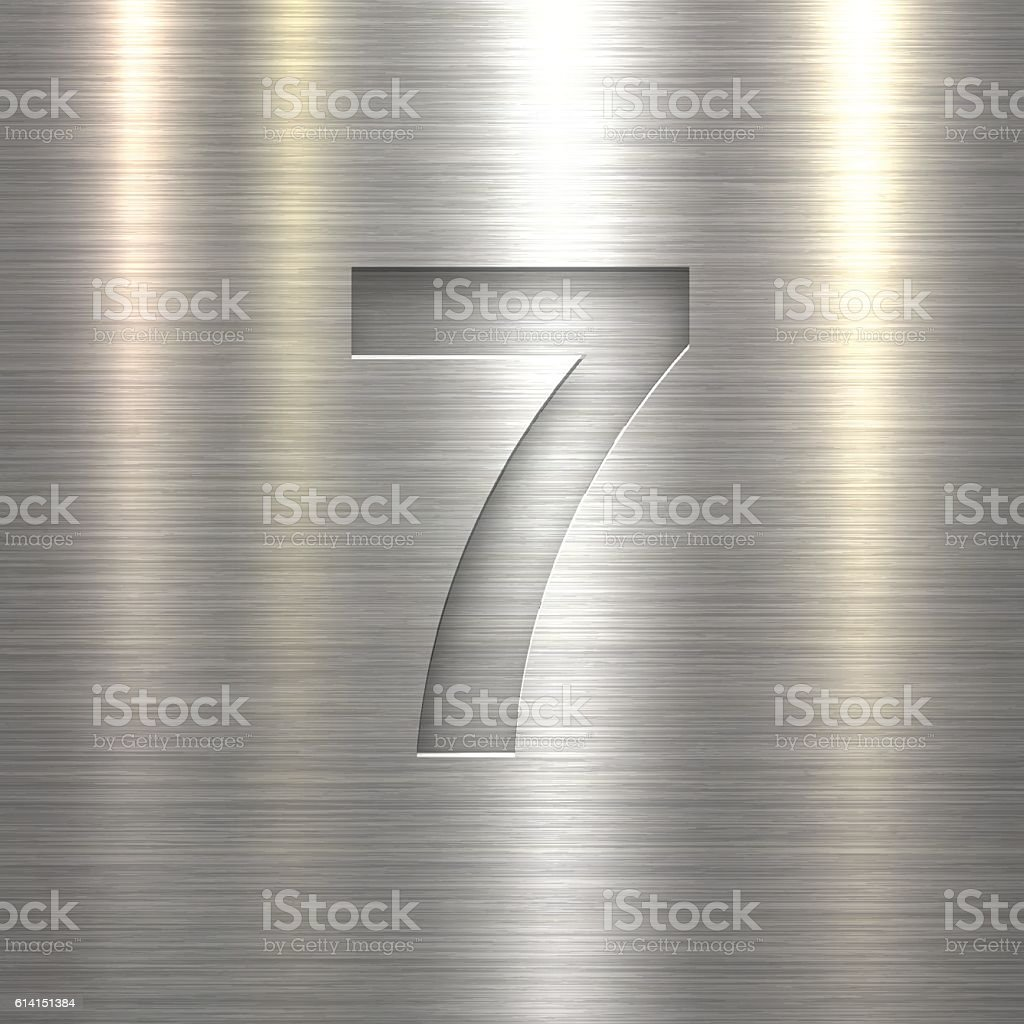 Number 7 Design (Seven). Number on Metal Texture Background – Vektorgrafik