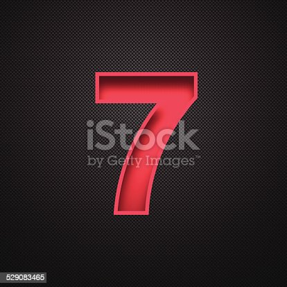 istock Number 7 Design (Seven). Red Number on Carbon Fiber Background 529083465