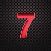 "Red number ""7"" - seven - on a realistic carbon fiber texture (black background)."