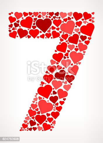 istock Number 7 Icon with Red Hearts Love Pattern 624752608