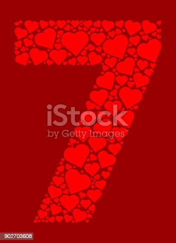 istock Number 7 Icon with Red Hearts Love Pattern 902703608