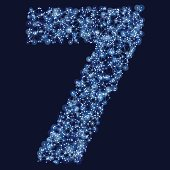 Number 7 Network Mesh Blue. Global Colors used, so you can easily change the base colors with just a few clicks. The colors in the .eps-file are in RGB. Transparencies used. Included files are EPS (v10) and Hi-Res JPG (3472 x 3472 px).