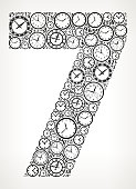 Number 7 on Time and Clock Vector Icon Pattern. The vector shape is filled with clock time and numbers. The clock and numbers vary in size and rotation and are black in color. The background is white with a slight gradient around the edges. This vector pattern graphic fill is perfect for time and timeline concepts.