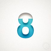 "Blue number ""8"" cut out of watercolor paper (white background)."