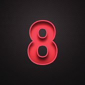 """Red number """"8"""" - eight - on a realistic carbon fiber texture (black background)."""