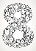 Number 8 on Time and Clock Vector Icon Pattern. The vector shape is filled with clock time and numbers. The clock and numbers vary in size and rotation and are black in color. The background is white with a slight gradient around the edges. This vector pattern graphic fill is perfect for time and timeline concepts.