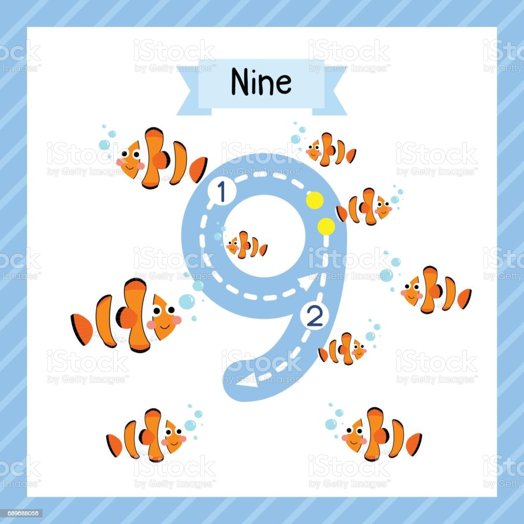 Number 9 Animal Tracing Flash Card Stock Vector Art & More Images of ...