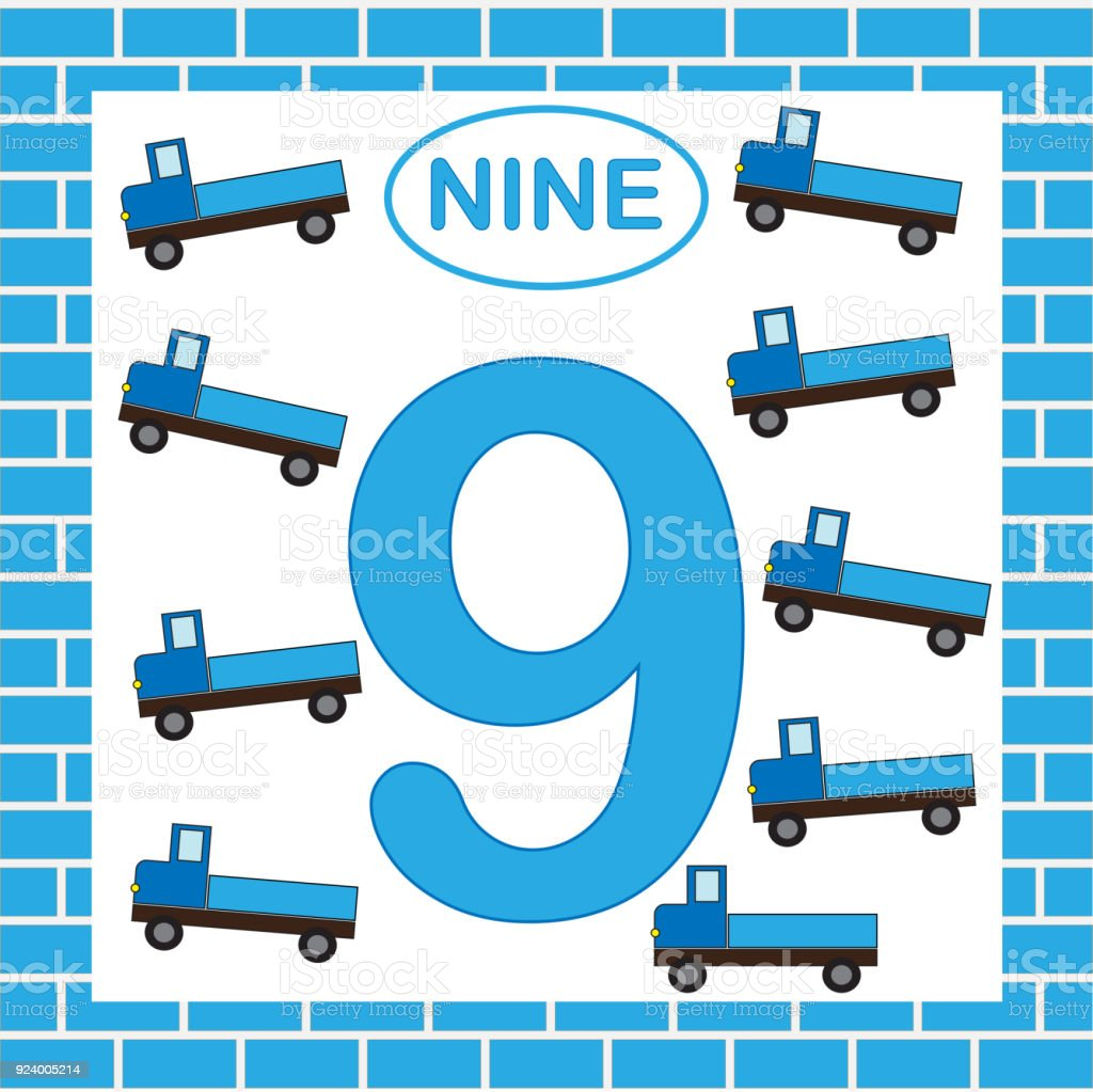 Numero 9 Carte Apprendre Les Chiffres Avec Transport Camion Jeu Educatif Pour Les Enfants Vecteurs Libres De Droits Et Plus D Images Vectorielles De 8 9 Ans Istock