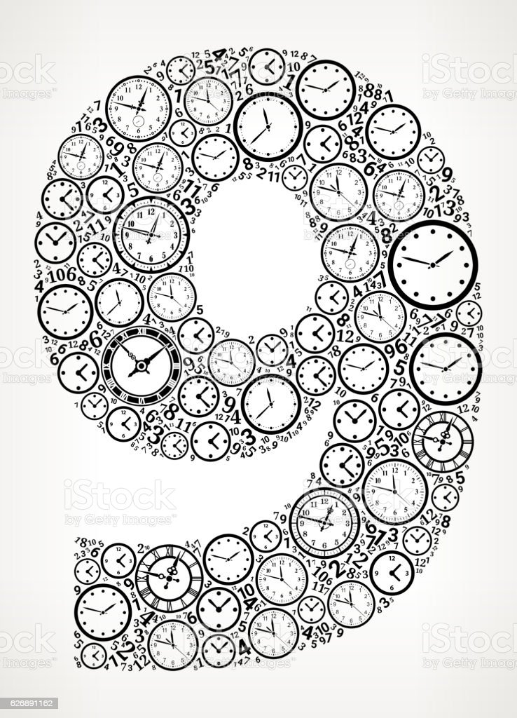 Number 9 On Time And Clock Vector Icon Pattern Vektor Illustration ...