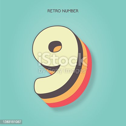 Number 9. Retro style lettering stock illustration. Invitation or greeting card stock illustration