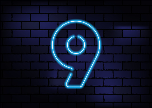 Number 9 Sign Blue Neon Light On Dark Brick Wall. Horizontal composition with copy space.