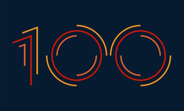 bildbanksillustrationer, clip art samt tecknat material och ikoner med nummer hundra vektor nummer alfabetet, modern dynamisk platt design med lysande färgglada för din unika element design; logotyp, företagsidentitet, ansökan, kreativ affisch & mer - nummer 100