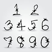 number alphabet barbwire font style. Vector illustration.