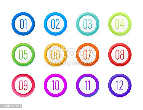 Number Bullet Point Colorful Markers 1 to 12. Vector stock illustration