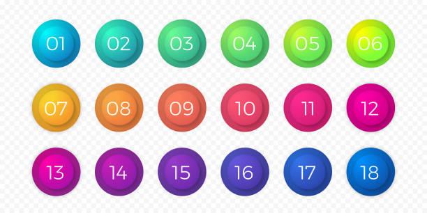 번호 총알 포인트 플랫 컬러 그라데이션 웹 버튼 고립 된 벡터 원형 아이콘 - 숫자 stock illustrations