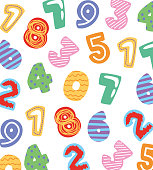numbers cartoons pattern over white background. vector illustration