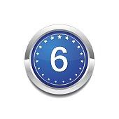 6 Number Circular Vector Blue Web Icon Button
