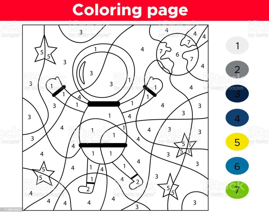 Page De Coloriage Numéro Astronaute De Dessin Animé Thème De