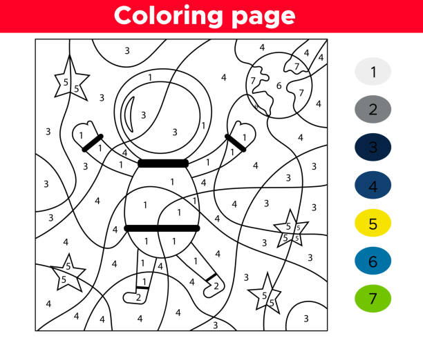 number coloring page. cartoon astronaut. space theme. vector stars and planet earth. - coloring book pages templates stock illustrations
