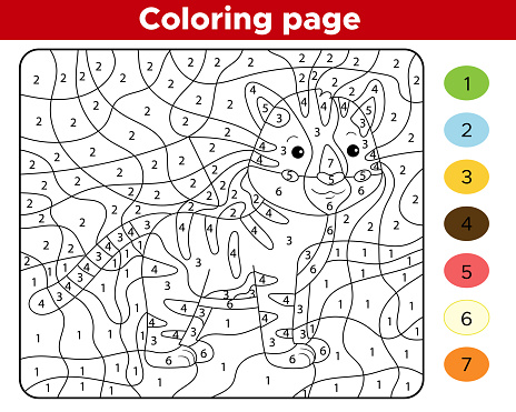 Ilustración de Página Para Colorear Números Para Niños ...