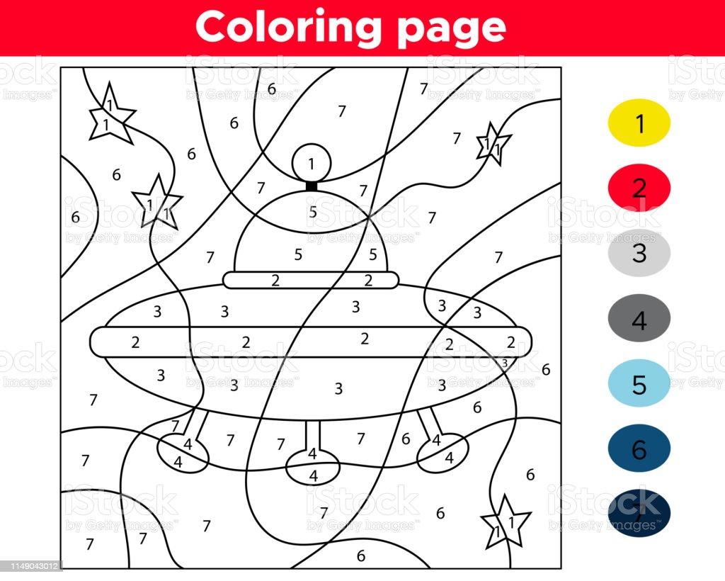 Okul Oncesi Cocuklar Icin Sayi Boyama Sayfasi Egitim Uzay Oyunu
