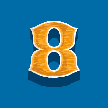 Number eight embroidered logo in classic collegiate or sports style.