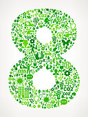 Number Eight On Green Environmental Conservation and Nature royalty free vector interface icon pattern. This royalty free vector art features nature and environment icon set pattern. The major color is green and icons include trees, leaves, energy, light bulb, preservation, solar power and sun. Icon download includes vector art and jpg file.