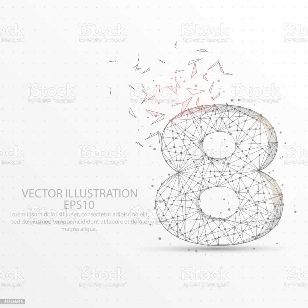 Number Eight Starry Sky Or Space Low Poly Wire Frame On White ...