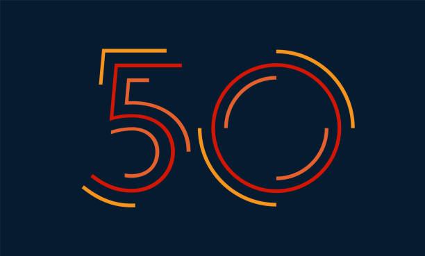 bildbanksillustrationer, clip art samt tecknat material och ikoner med nummer 50 vektor nummer alfabetet, modern dynamisk platt design med lysande färgglada för din unika element design; logotyp, företagsidentitet, ansökan, kreativ affisch & mer - talet 50