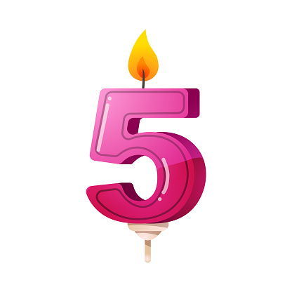 Number five birthday party, anniversary candle. Clipart,realistic 3D raster illustration