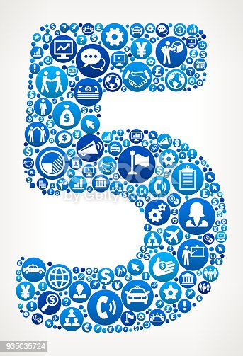 istock Number Five Business and Finance Blue Icon Pattern 935035724
