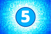 Number Five Icon on Business and Finance Vector Background. The blue button with the white icon on it is in the center of the illustration. The button is surrounded with business and finance icon pattern. The icons vary in size and shades of blue color. There is a white glow around the round button which helps it stand out from the background. The icons include such popular business and finance symbols as business people, business meetings and travel, profits and financial charts and many more. You can also use each icon separately from the main background.
