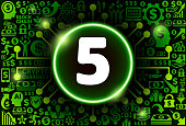 Number Five Icon on Money and Cryptocurrency Background. The main symbol depicted is in the center of the illustration. The background is made up from icon with the cryptocurrency and money theme. These vector icons make up a pattern and vary in size and in the shade of the green color. The background color is black. This image is ideal for the current cryptocurrency themed illustrations.